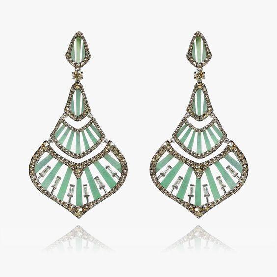 Flamenco 18ct White Gold 3.84 Diamond Jade Earrings | Annoushka jewelley