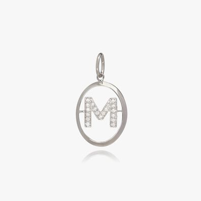 18ct White Gold Initial M Pendant