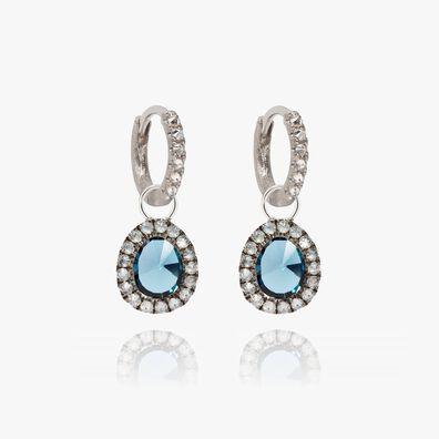 Dusty Diamonds 18ct White Gold Small Topaz Earrings