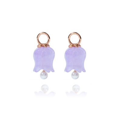 18ct Rose Gold Lavender Jade Tulip Earring Drops