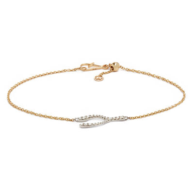 Love Diamonds 18ct Bi-Gold Diamond Wishbone Bracelet