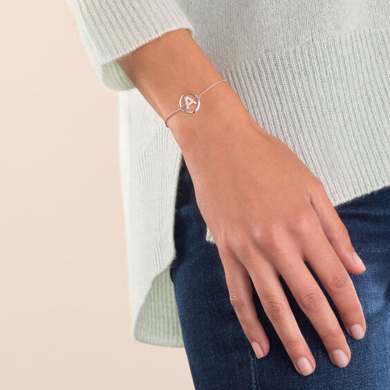 18ct White Gold Diamond Initial A Bracelet | Annoushka jewelley