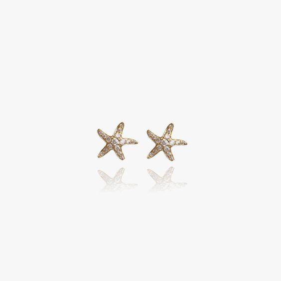 Love Diamonds 18ct Gold Diamond Starfish Studs