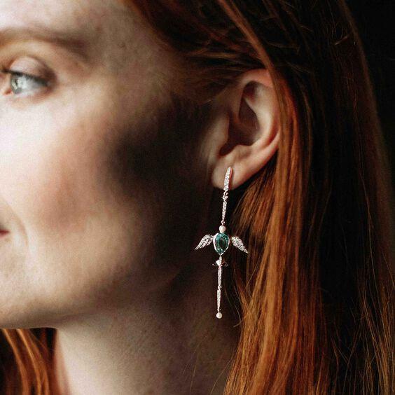 18ct White Gold Aquamarine Lovebirds Earrings