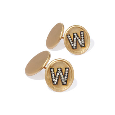 18ct Satin Gold Diamond Initial W Cufflinks