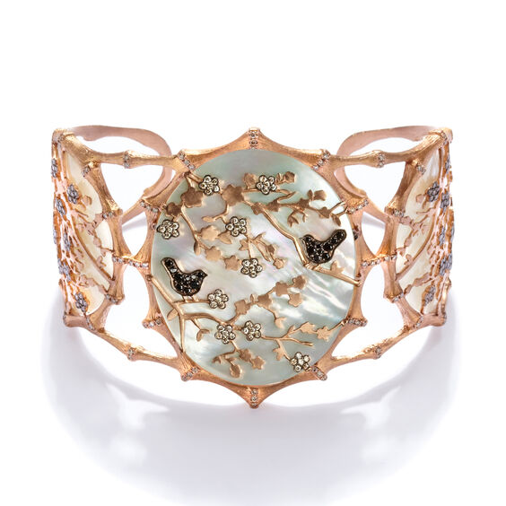 Dream Catcher 18ct Rose Gold Pearl Diamond Cuff | Annoushka jewelley