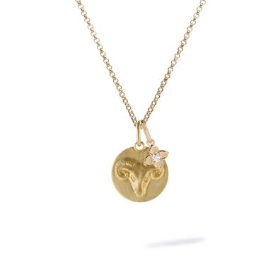 Gold Aries & Diamond April Birthstone Necklace
