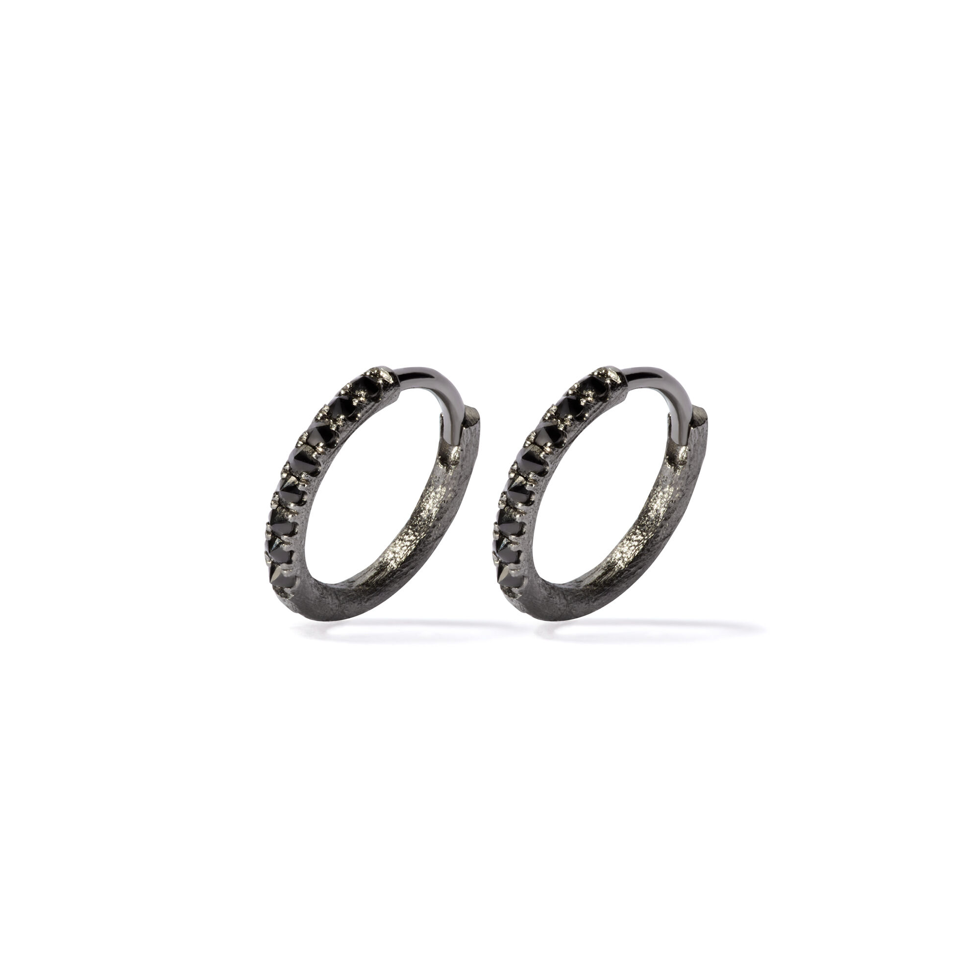 f28fb648cb445 Dusty Diamonds 18ct White Gold Black Diamond 12mm Hoops. Click to expand