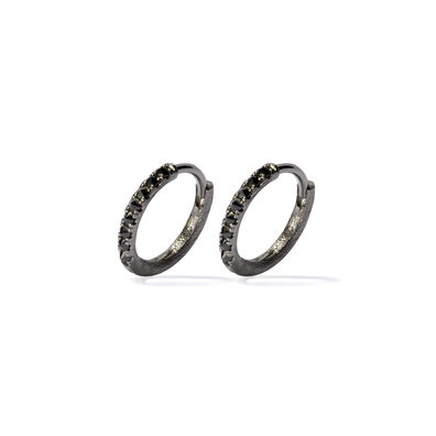 Dusty Diamonds 18ct White Gold Black Diamond 12mm Hoops