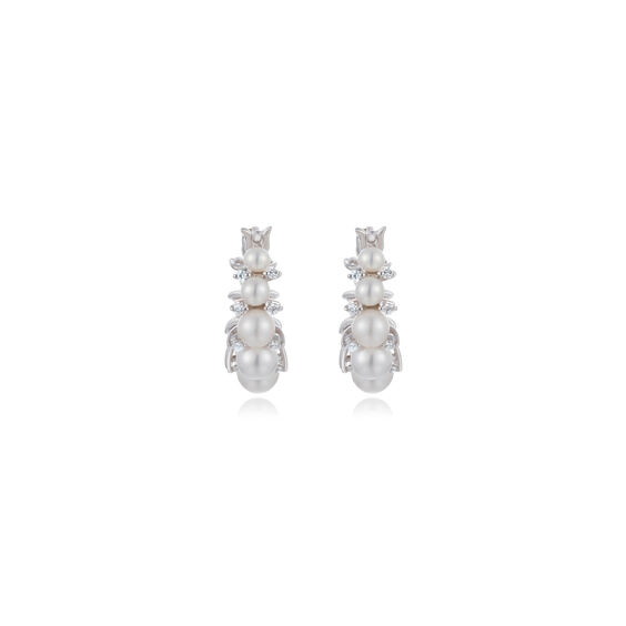 Diamonds & Pearls 18ct White Gold Hoops: An Online Exclusive | Annoushka jewelley