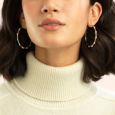 Bamboo 18ct White Gold Diamond Large Hoop Earrings