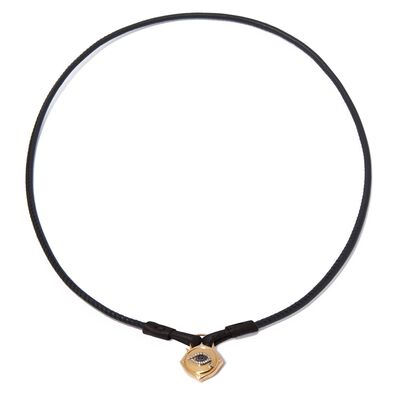 Lovelock 18ct Gold Leather Evil Eye Necklace