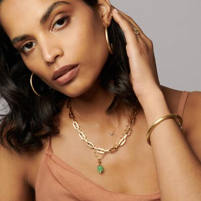 18ct Gold Green Jade Tulip Necklace