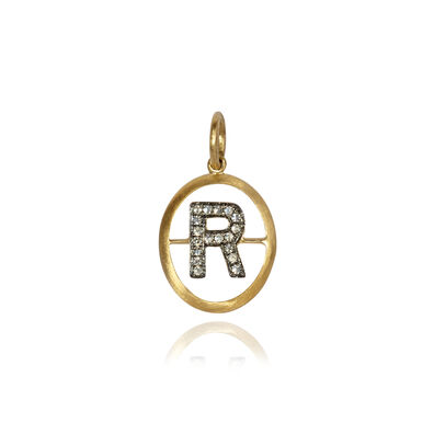 18ct Gold & Diamond Initial R Pendant