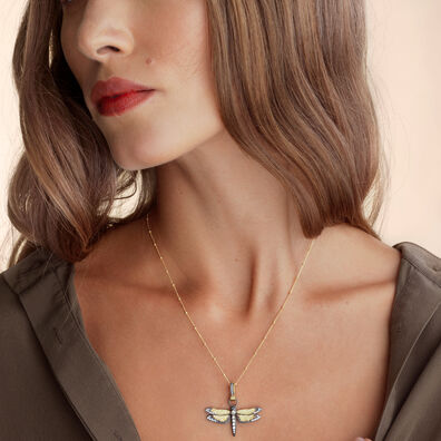 Mythology 18ct Gold Diamond Dragonfly Pendant