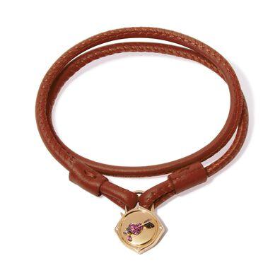 Lovelock 18ct Gold 35cms Brown Leather Heart & Arrow Charm Bracelet