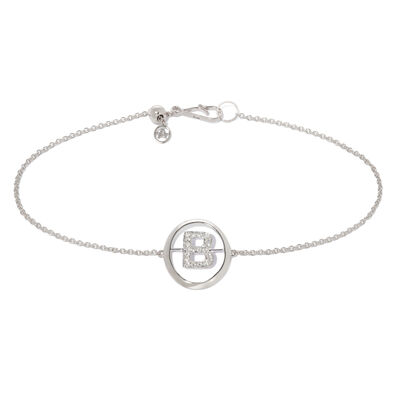 18ct White Gold Diamond Initial B Bracelet
