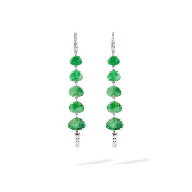 Unique 18ct White Gold Large Jade Drop Earrings