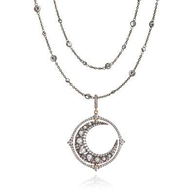 Mythology 18ct White Gold Moon Necklace