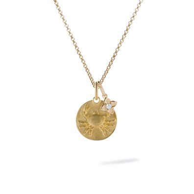 Gold Cancer & Pearl June Birthstone Necklace