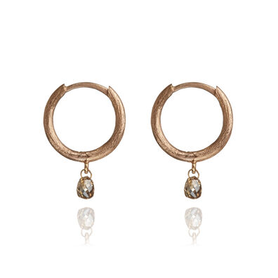Hoopla 18ct Rose Gold Diamond Hoop Earrings