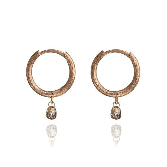 Hoopla 18ct Rose Gold Diamond Hoop Earrings | Annoushka jewelley