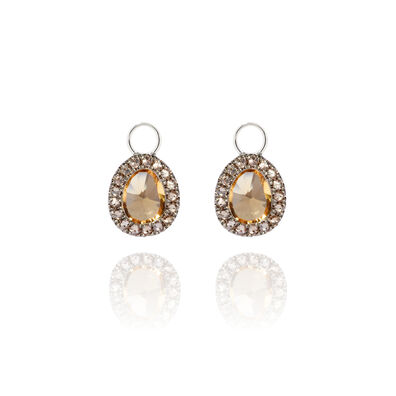 Dusty Diamonds 18ct White Gold Citrine Mini Earring Drops