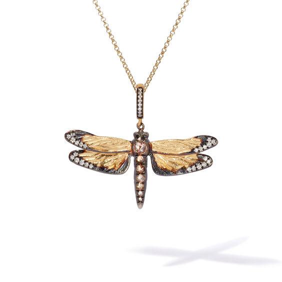 Mythology 18ct Gold Diamond Dragonfly Pendant | Annoushka jewelley