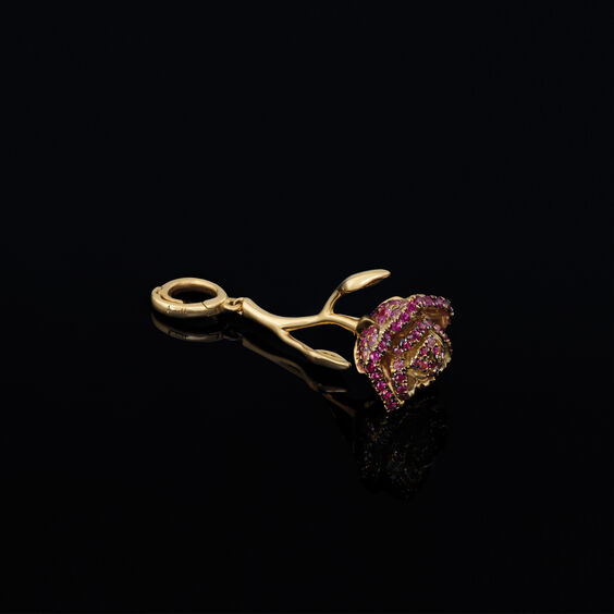 "18ct Gold Ruby & Sapphire ""Wild Rose'' Charm 