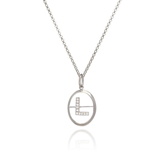 18ct White Gold Diamond Initial L Necklace