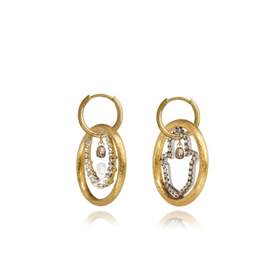 Hoopla 18ct Gold Diamond Luck Earrings | Annoushka jewelley
