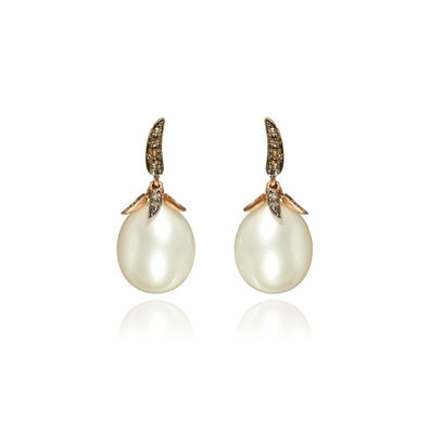 Chilli 18ct Rose Gold Diamond Pearl Earrings