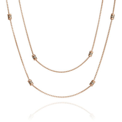Alchemy 18ct Rose Gold Diamond Long Chain