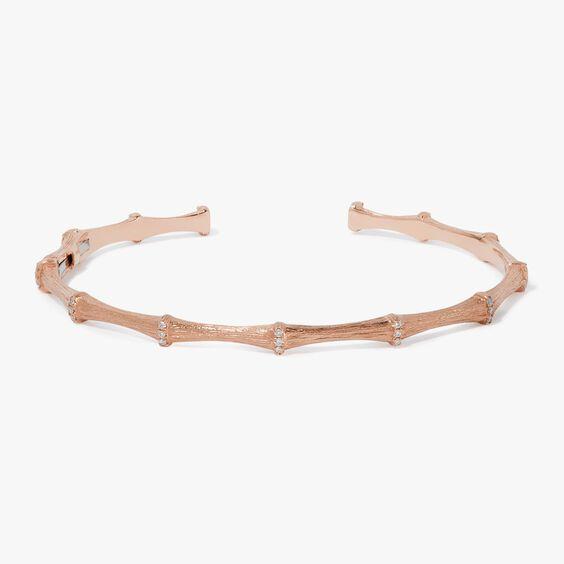 Bamboo 18ct Rose Gold Diamond Bangle | Annoushka jewelley