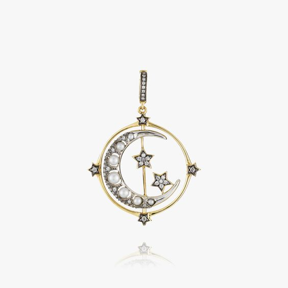 Mythology 18ct Gold Pearl Spinning Moon Charm | Annoushka jewelley