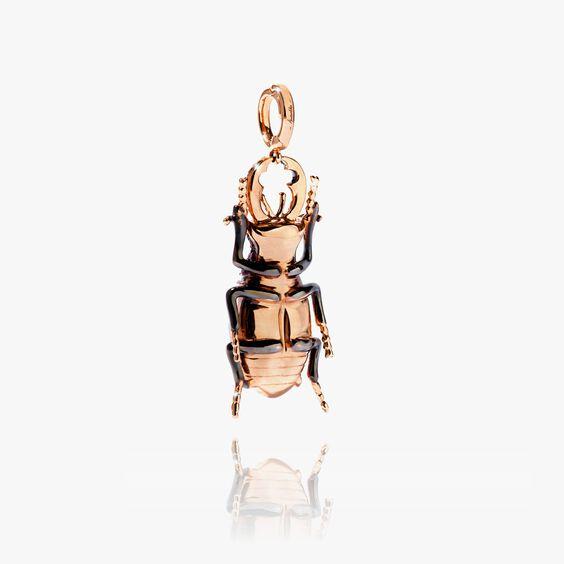 Mythology 18ct Rose Gold Blue Topaz Beetle Charm | Annoushka jewelley