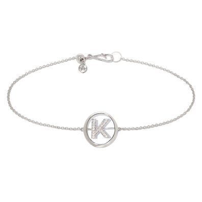 18ct White Gold Diamond Initial K Bracelet