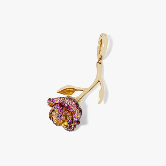 """18ct Gold Ruby & Sapphire """"Wild Rose'' Charm 