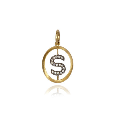 18ct Gold Diamond Initial S Pendant
