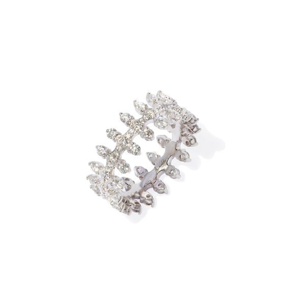 Crown 18ct White Gold Double Diamond Ring | Annoushka jewelley