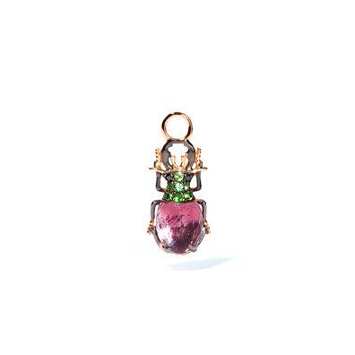 Mythology 18ct Rose Gold Amethyst Beetle Single Earring Drop