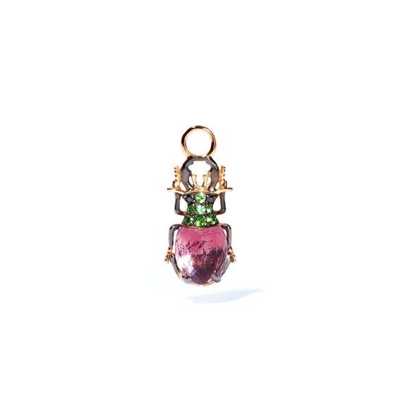 Mythology 18ct Rose Gold Amethyst Beetle Single Earring Drop | Annoushka jewelley