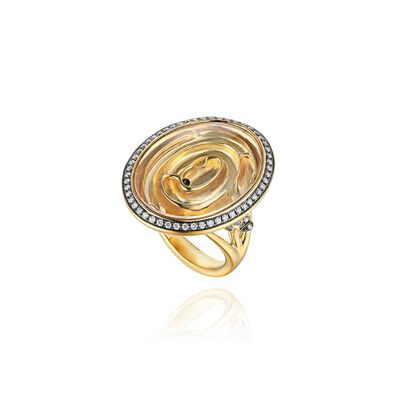 Garden Party 18ct Gold White Quartz Diamond Maze Ring