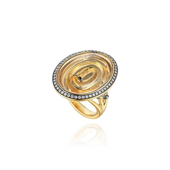 Garden Party 18ct Gold White Diamond Maze Ring | Annoushka jewelley