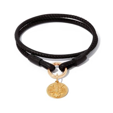 18ct Gold Lovelink 35cms Leather Scorpio Charm Bracelet