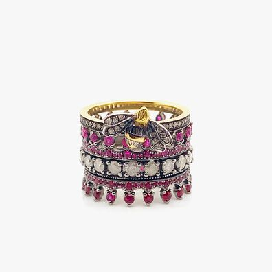 18ct Gold Bee Ruby Ring Stack