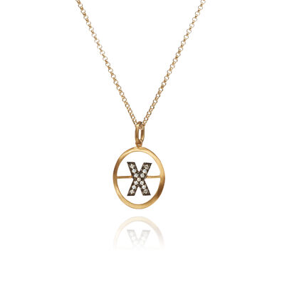 18ct Gold Diamond Initial X Necklace