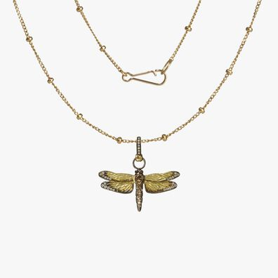Mythology 18ct Gold Diamond Dragonfly Necklace