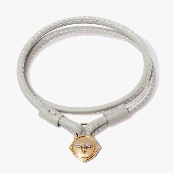 Lovelock 18ct Gold 41cms Cream Leather Bee Charm Bracelet