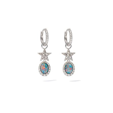 Unique 18ct White Gold Opal Doublet Earrings